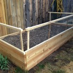 Double raised vegetable garden with dog fence